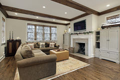 Family room with wood ceiling beams Stock Photos