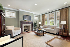 Family room with wood fireplace Royalty Free Stock Photo