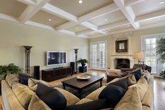 Family roomwith ceiling beams Stock Images