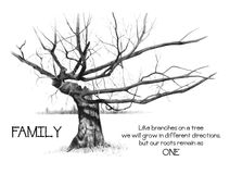 Family Roots with Gnarly Tree: Pencil Drawing. This is my original drawing of a bare tree with twisted, gnarled branches.  There is a quote which reads: FAMILY Royalty Free Stock Image