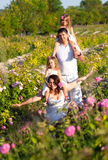 Family in rose garden Stock Photography