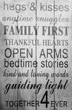 Family rules print on the wall. Black and white picture stock images