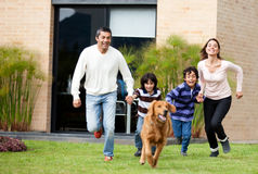 Family running Stock Photography
