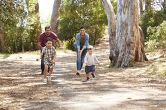 Family Running Along Path Through Forest Together stock photo