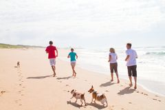 Family running on beach. Family of four and their family pet dogs running on beach Stock Photos