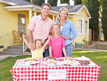 Family Running Charity Bake Sale Stock Photo