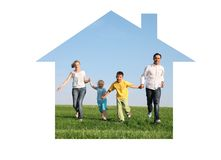 Family running in dream house Stock Photo