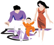 Family running, having fun. Mother, father, child holding hands together Royalty Free Stock Images