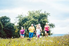 Family running on a meadow for sport stock photography