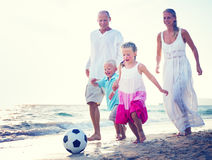 Family Running Playful Vacation Beach Holiday Concept Royalty Free Stock Images