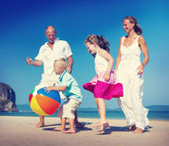 Family Running Playful Vacation Beach Holiday Concept Royalty Free Stock Image
