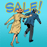 Family running sale retro style pop art Stock Images