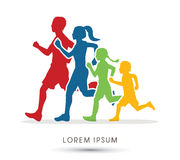 Family running silhouettes vector illustration