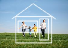 Family running to dream house. Family of four running to dream house Stock Photos