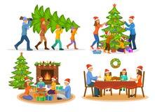 Family& x27; s圣诞节新年被设置的冬天活动 库存图片