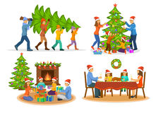 Family's Christmas New Years Winter Activities Set. Family's Christmas Winter Activities Set. Man woma and children carry xmas tree; decorating it with stock illustration
