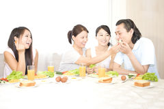 A family's happy breakfirst royalty free stock image