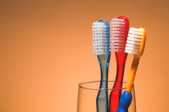 A Family's Toothbrushes Stock Images