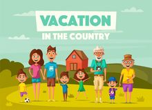Family`s vacation in the countryside. Cartoon vector illustration. Vacation in the countryside. Cartoon vector illustration. Happy big family. Grand parents Royalty Free Stock Photo