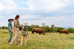 Family on safari Stock Image
