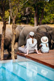 Family safari. Family of mother and child on African safari vacation enjoying wildlife viewing sitting near swimming pool stock photography