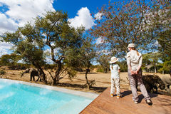 Family safari. Family of mother and child on African safari vacation enjoying wildlife viewing standing near swimming pool royalty free stock photo