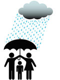 Family safe under umbrella cloud & rain Royalty Free Stock Photos