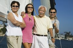 Family sailing. Asian ethnic Family sailing, (portrait Royalty Free Stock Images