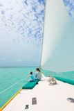 Family sailing on luxury yacht Royalty Free Stock Photo