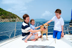 Family sailing on a luxury yacht Royalty Free Stock Photos