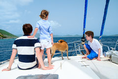 Family sailing on a luxury yacht Stock Photography