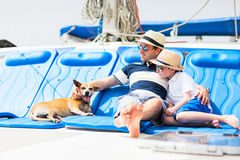 Family sailing on a luxury yacht Royalty Free Stock Photo