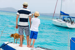 Family sailing on a luxury yacht Stock Photo