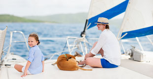 Family sailing on a luxury yacht Royalty Free Stock Images