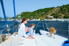 Family sailing on a luxury yacht Stock Image