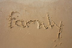 Family in the sand. Family written in the sand Royalty Free Stock Photography
