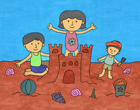 Family sand castle. A happy cartoon family building a sand castle in the beach Stock Image