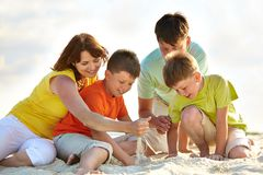 Family on sand Royalty Free Stock Images