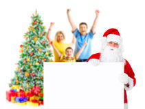 Family, Santa and Christmas Tree Stock Images