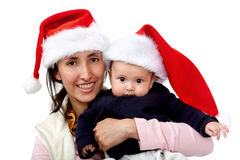 Family with Santa hat Royalty Free Stock Photography