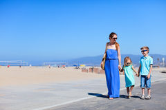 Family at Santa Monica beach Stock Image