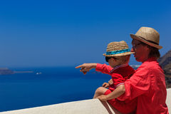 Family in Santorini, Greece Stock Images