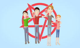 Family of Satanists / Satanism holding pentagram. Happy, healthy family of Satanists holding up pentagram to show love of Satanism Royalty Free Stock Photo