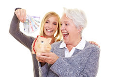 Family saving money for pension stock image