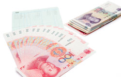 Family savings. And RMB on white Stock Images