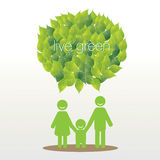 Family say live green with leave bubble Stock Image