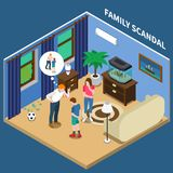 Family Scandal Isometric Composition. With father scolding son for broken window with soccer ball vector illustration Royalty Free Stock Image