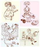 Family scenes cartoon. Funny sketches Royalty Free Stock Photo