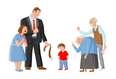 Family scolds their child. Father, mother, grandpa and grandma punish boy for mischief. Illustration depicts education, domestic violence and child abuse. Image Stock Photography
