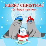 Family sea lions on a background of full moon at Christmas. Arctic animals character and background, Winter Landscape, Nature Travel Wildlife. Merry Christmas Royalty Free Illustration